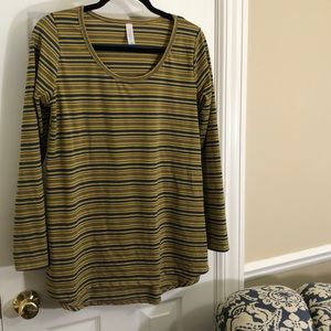 LulaRoe Simply Comfortable blue/gold striped tunic